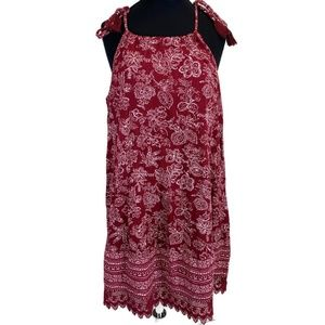Old Navy Brick Red Floral Dress W/Lace Hem Large